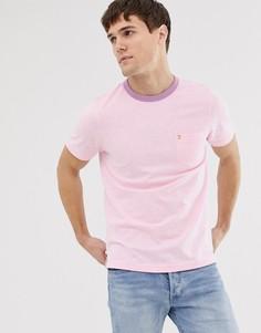 Розовая приталенная футболка с контрастной отделкой Farah - Groove - Розовый