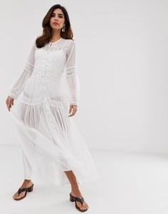 Пляжное кружевное платье макси Y.A.S - Белый