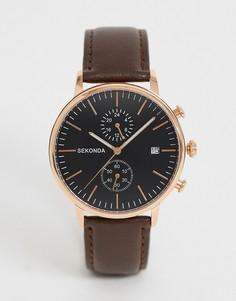 Часы с хронографом и кожаным ремешком Sekonda - Коричневый