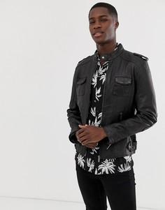 Куртка из натуральной кожи с четырьмя карманами Bolongaro Trevor - Черный