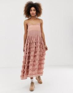 Платье миди на бретелях с ярусными оборками на пышной юбке Sister Jane - Розовый