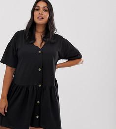 Черное свободное платье с пуговицами Missguided Plus - Черный