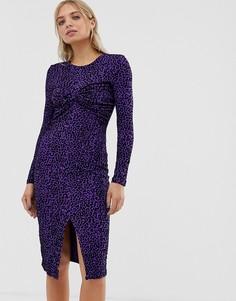Платье миди с перекрученной драпировкой Moves By Minimum - Мульти