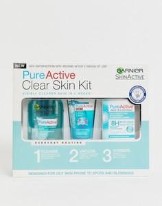 Набор для ухода за кожей Garnier - Pure Active Anti Blemish Skin Care Beauty Regime (3 средства - Бесцветный