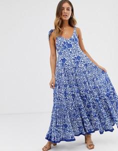 Платье миди с принтом Free People - Kikas - Кремовый