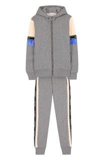 Хлопковый костюм из кардигана с капюшоном и брюк Moncler Enfant
