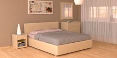 Мягкая кровать 200х160 Малибу вариант №10 с ортопедическим основанием (Бежевый) Home Me