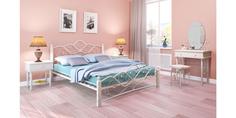 Металлическая кровать 140х200 Венера вариант №1 с ортопедическим основанием (белый/белый) Home Me