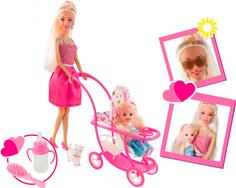 Набор Ася Блондинка в розовом платье на прогулке с семьей, 11 и 28 см, 35087 Toys Lab