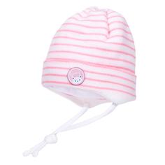 Шапка-ушанка для девочки Белый с розовой полоской Barkito