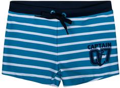 Трусы-шорты купальные для мальчика Пляж SS18 голубые с рисунком в полоску Barkito