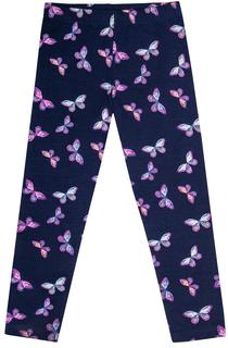 Брюки модель лосины для девочки Весенние бабочки, темно-синие Barkito