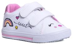 Ботинки для девочки белые с розовым Barkito