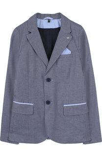 Однобортный пиджак из хлопка с контрастной отделкой Armani Junior