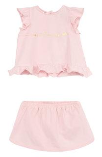 Хлопковый комплект из футболки и юбки-шорт Armani Junior