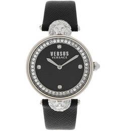 Часы Кварцевые часы с ремешком из сафьяновой кожи Versus