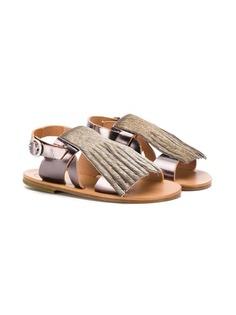 Pèpè сандалии с открытым носком и бахромой