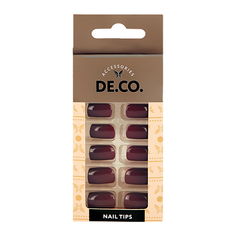 Набор накладных ногтей DE.CO. ESSENTIAL Choco 24 шт + клеевые стикеры 24 шт Deco