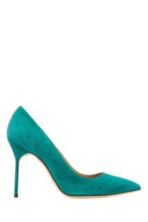 Зеленые туфли BB из замши Manolo Blahnik