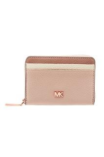 Бело-розовый кошелек на молнии Michael Kors
