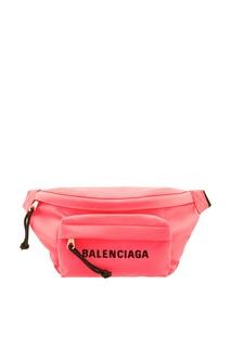 Неоново-розовая поясная сумка Wheel Balenciaga