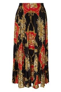 Плиссированная юбка с орнаментальным принтом Gucci