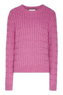 Розовый вязаный джемпер с люрексом Gucci