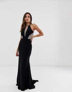 Платье макси с американской проймой и отделкой по бокам Jovani - Черный