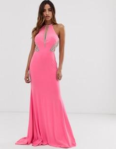 Платье макси с американской проймой и отделкой по бокам Jovani - Розовый