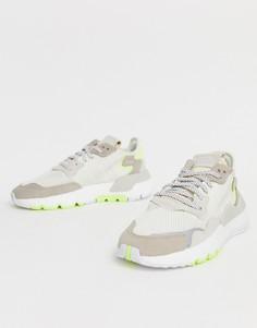 Бело-желтые кроссовки adidas Originals Nite Jogger - Белый