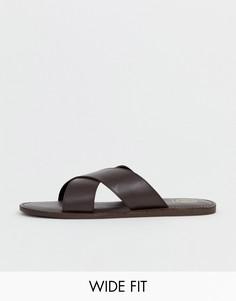Светло-коричневые кожаные сандалии для широкой стопы с перекрещенными ремешками KG by Kurt Geiger - Коричневый