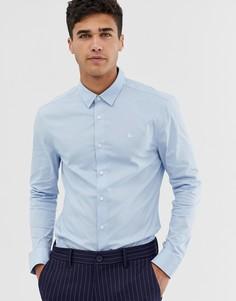 Голубая стретчевая облегающая рубашка из поплина Jack Wills - Синий