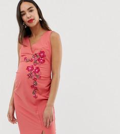 Оранжевое платье-футляр с вышивкой Little Mistress Maternity - Оранжевый