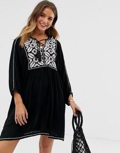 Цельнокройное платье с вышивкой Raga Rosanna - Черный