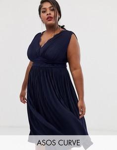 5488170438c Премиум-платье миди с кружевной отделкой и плиссированной юбкой ASOS DESIGN  Curve - Темно-