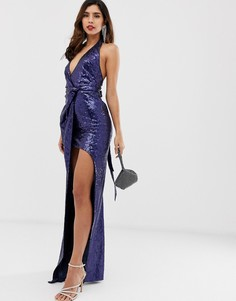 Платье макси с разрезом и пайетками City Goddess - Темно-синий