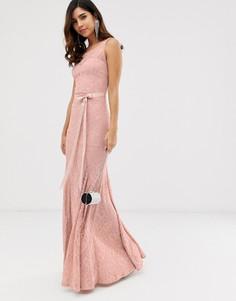 Кружевное платье макси с поясом City Goddess - Розовый