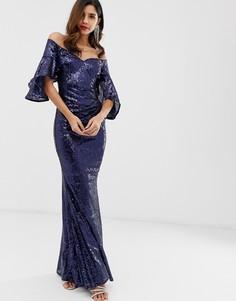 Платье с отделкой пайетками и рукавами длиной 3/4 City Goddess - Темно-синий