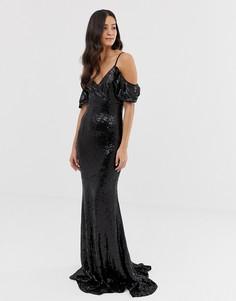 Платье макси с открытыми плечами и пайетками Forever Unique - Черный