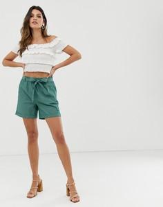 Зеленые шорты в полоску с поясом Esprit - Зеленый