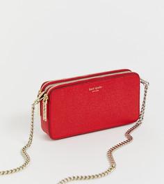 Красная маленькая сумка через плечо с двумя молниями Kate Spade - Красный