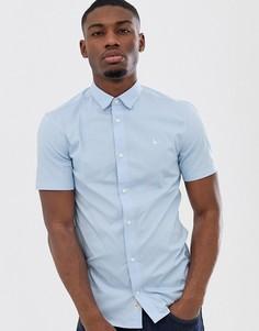 Синяя приталенная поплиновая рубашка с короткими рукавами Jack Wills - Синий