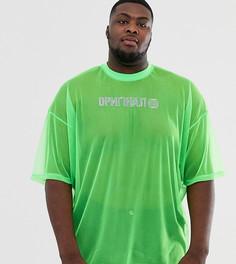 Oversize-футболка из сетчатого материала неоновой расцветки с узором из камней с горячей фиксацией ASOS DESIGN Plus - Зеленый