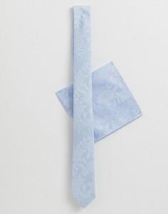 Синий комплект из узкого галстука и платка для пиджака с цветочным принтом ASOS DESIGN Wedding - Синий