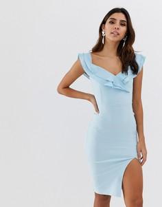 Платье-футляр с оборками Vesper - Синий