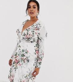 Белое платье с цветочным принтом и перекрученной отделкой Missguided Plus - Мульти