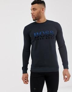 Темно-синий свитшот с флоковым логотипом BOSS - Weaver - Темно-синий