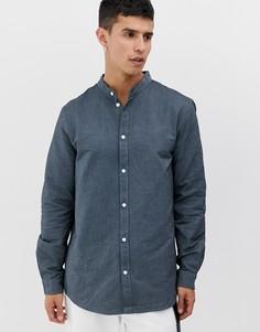Синяя рубашка с воротником на пуговице Weekday - Haring - Синий