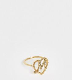 Позолоченное кольцо с инициалом Reclaimed Vintage - Золотой