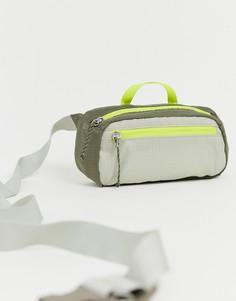 Зеленая сумка-кошелек на пояс в стиле колор блок Weekday - Зеленый